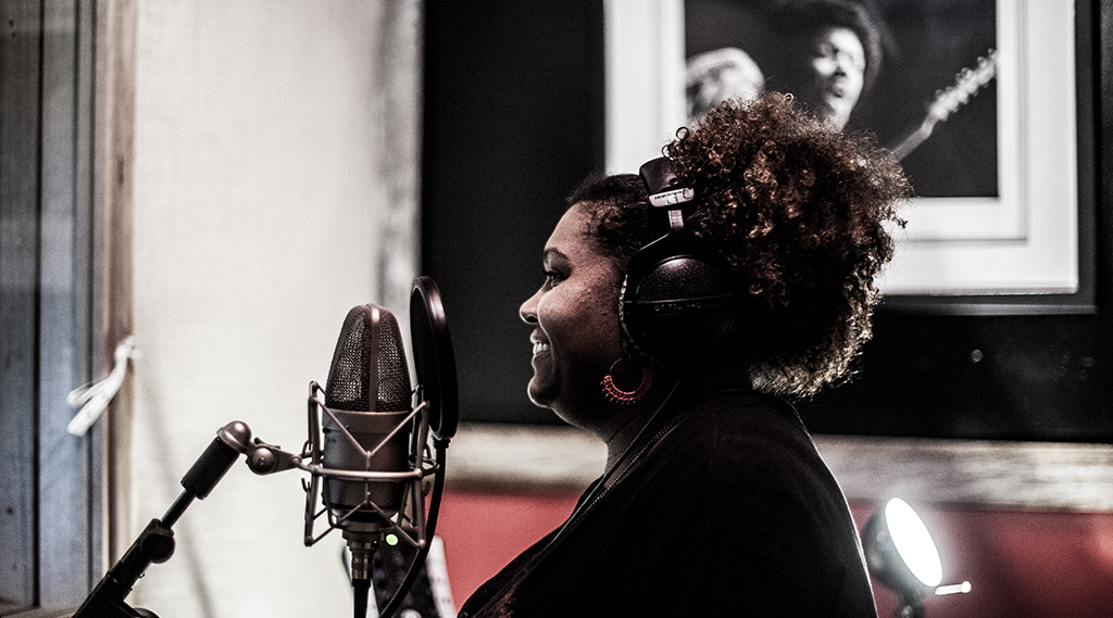 "Emma Donovan during the ""Dawn"" sessions putting down vocals live with the band"